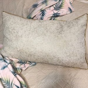 Other - Gold Trim and Speckled Tan Rectangle Decor Pillow